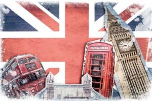 Фототапет колаж Лондон със знаме