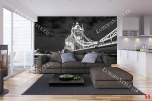 Лондон изглед на моста тауър в черно бяло
