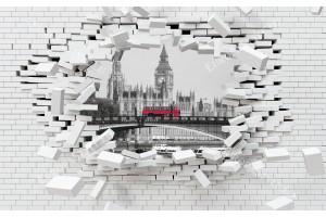 Фототапети 3d разбита тухлена стена изглед от Лондон