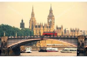 Фототапети изглед Лондон кулата Биг Бен и моста цветен