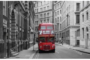 Фототапет червен автобус на улица в Лондон