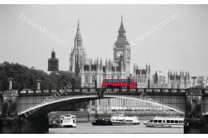 Фототапет лондонски изглед мост с червен автобус