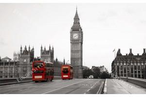 Фототапет класически изглед на Лондон в черно и червено