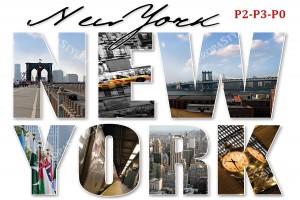 Фототапет изглед Ню Йорк колаж букви
