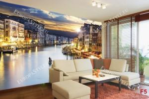 Фототапети нощен изглед на красив канал във Венеция