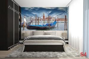 Фототапети изглед Венеция с гондола и синьо небе