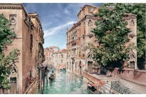 Фототапети Венеция изглед с гондола рисувана картина
