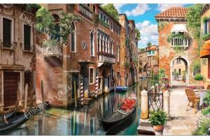 Фототапети Венеция изглед канал с красива тераса с цветя