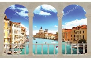 Фототапети слънчев изглед Венеция през колони