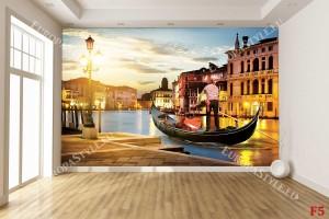 Фототапет гондола във Венеция преден план с лодкар
