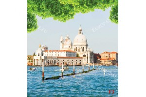 Фототапет слънчев градски пейзаж Венеция по море