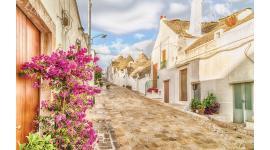 Фототапети средиземноморска гледка улица с цветя