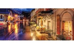 Фототапет ретро ресторант нощем улица в Германия