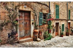 Фототапет ретро изглед стар град улица винтидж стил