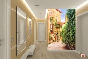 Фототапети ретро улица със стена от зелени листа
