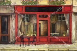 Фототапет ретро фасада с магазини рисувани червено