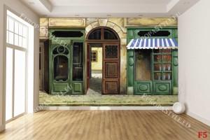 Фототапет ретро фасада с магазини рисувани в зелено