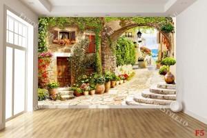антична улица с цветя и каменна арка