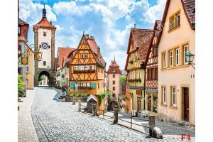 емблематичен площад от Ротенбург Германия