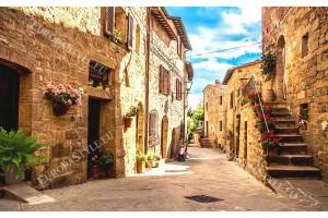 Фототапет антична улица с цветя в Тоскана