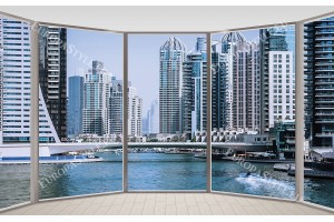 Фототапети панорамен изглед прозорец овал Дубай слънчев