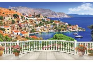 Фото тапет 3Д изглед гръцко море през парапет