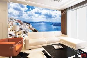 прекрасна панорама изглед Санторини бели къщи и море