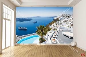 Фототапет гледка с кораб от Санторини