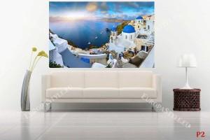 Фототапет прекрасна морска панорама от Санторини при изгрев