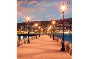 Фототапет нощна панорама от градски мостик остров Гърция