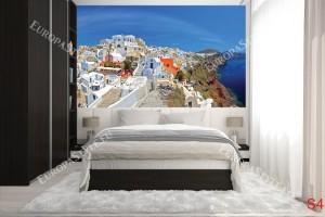 Фототапет панорамен изглед на остров Санторини