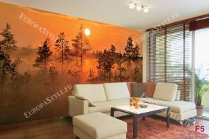 Фототапети оранжева гора при залез