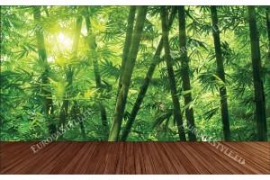 Фототапети бамбукова гора с дървена платформа