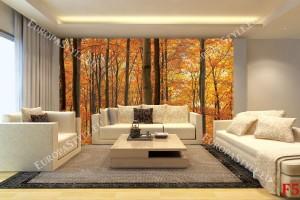 Фототапети гора изглед в оранжево