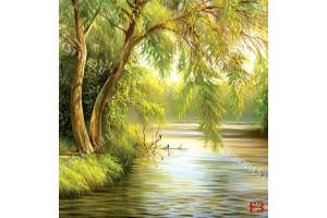 рисуван пейзаж дърво край езеро