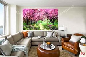 Фототапет красива пътека в парк с розови дървета и цветя