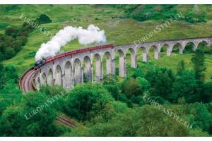 Фототапет красива гледка с мост и влак