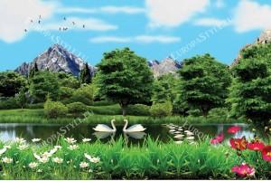 фототапети 3д изглед езеро и лебеди
