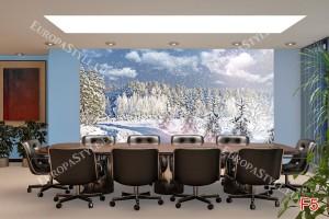 Фототапети зимен пейзаж борова гора