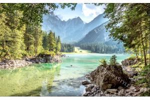 Фототапети красив планински изглед с река и гори