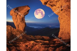 Фототапети изглед на скали с красива луна