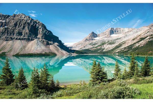 Фототапети планина изглед езеро с борови дървета