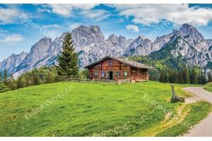 Фототапет планински изглед с дървена хижа