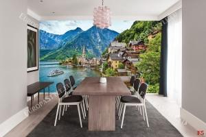 Фототапет красив планински изглед от Австрия с езеро