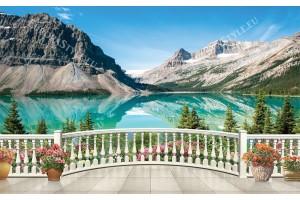 3Д изглед планинско езеро през парапет