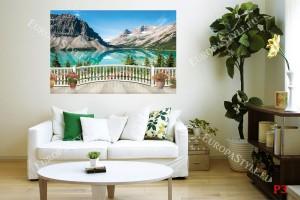 Фото тапет 3Д изглед планинско езеро през парапет