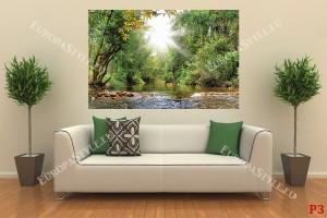 красив пейзаж с река в гора и слънчеви лъчи 2
