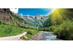 Фототапет природен изглед слънчева планина с река