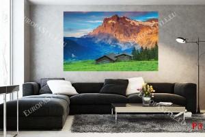 изглед с хижа панорама планина червени скали