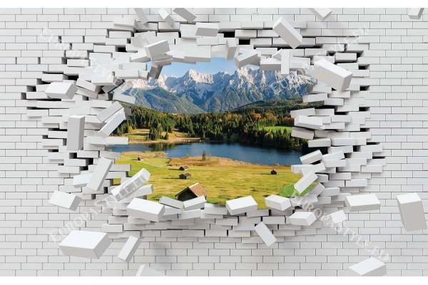 3d разбита тухлена стена изглед от  планина и езеро